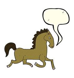 cartoon running horse with speech bubble vector image