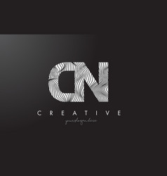 Cn c n letter logo with zebra lines texture vector