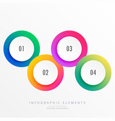 colorful four steps circular infograph vector image vector image