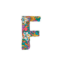 Colorful ornamental alphabet letter f font vector