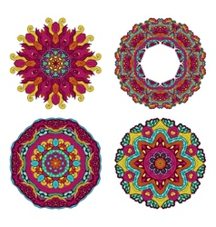 Colorful round floral design elements vector image