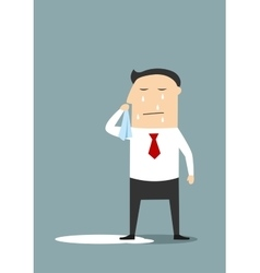 Crying businessman standing in a pool vector