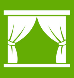 curtain on stage icon green vector image
