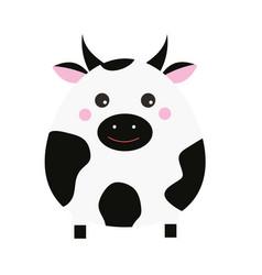 Cute kawaii cow character children style vector