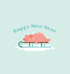 Cute lazy pig lying on a winter slide merry vector