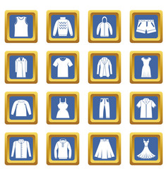 different clothes icons set blue vector image