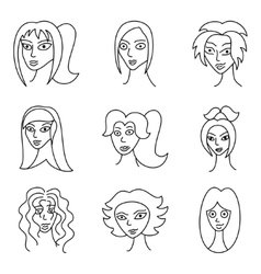 Different comic woman faces vector image