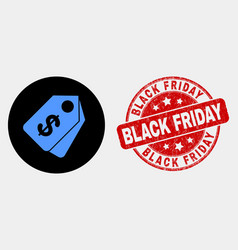 Dollar tags icon and scratched black friday vector
