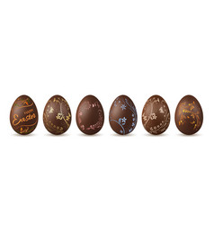 Easter egg 3d chocolate brown eggs set isolated vector