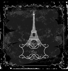 Eiffel tower on a blackboard vector