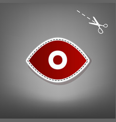 eye sign red icon with for vector image