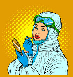 female doctor in protective suit puts on lipstick vector image
