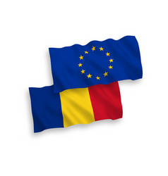 Flags european union and romania on a white vector