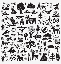 Forest animals - doodle set graphic icons vector