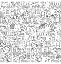 Garbage doodle seamless pattern vector