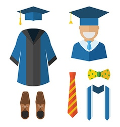 Graduation Clothing and Accessories Icons vector