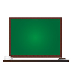 green board with wooden shelf on white background vector image