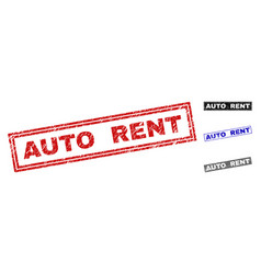grunge auto rent textured rectangle stamps vector image