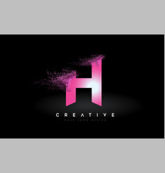 H letter logo with dispersion effect and purple vector