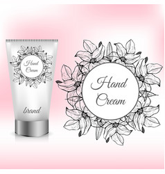 Hand cream packaging with lily wreath vector