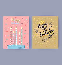 Happy birthday joy and fun congratulation poster vector