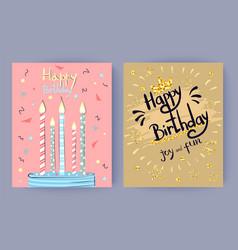 happy birthday joy and fun congratulation poster vector image