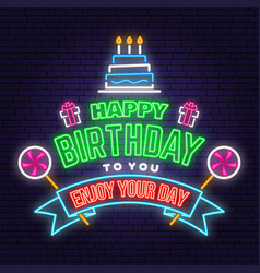 Happy birthday to you neon sign stamp badge with vector