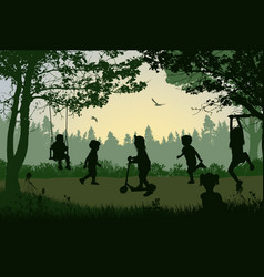Happy children silhouette playing in a park vector