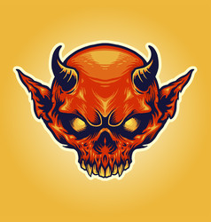 head horn red devil mascot vector image