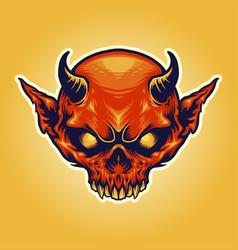 Head horn red devil mascot vector