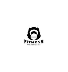 Head monster with barbel gym fitness logo design vector