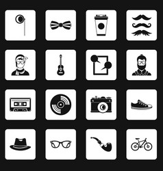 Hipster icons set squares vector