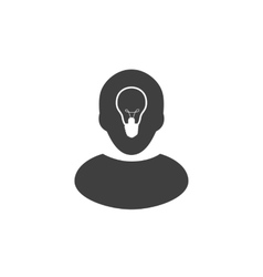 Human head with lamp inside Ide icon or logo vector