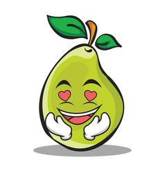 In love pear character cartoon vector