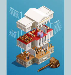 Judgement hall isometric infographics vector