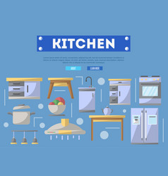 Kitchen furniture poster in flat style vector