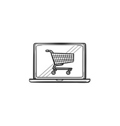 laptop with shopping cart on screen hand drawn vector image