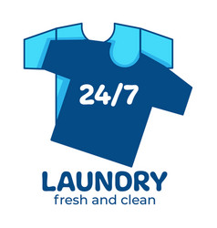 Laundry service fresh and clean 24 7 every day vector