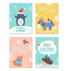 let it snow hello winter 60s colorful postcard vector image