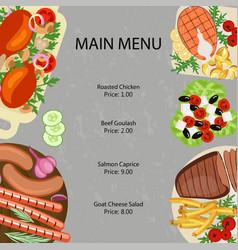 Main restaurant menu vector