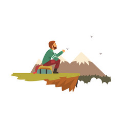 man sitting on top of the mountain and looking vector image