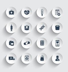 Medicine icons health care ambulance hospital vector