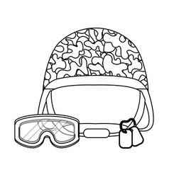 Military helmet icon black and white vector