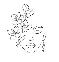 Minimal woman face vector