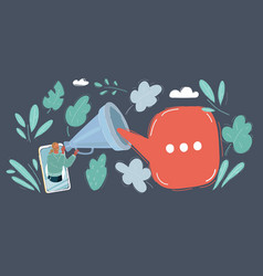 mobile marketing concept smart phone on dark vector image