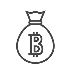 Money bag with bitcoin thin line icon vector