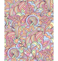 pattern with abstract flowersleaves and lines vector image