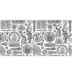 Peacock collection ethnic style seamless pattern vector