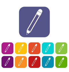 Pencil with eraser icons set flat vector