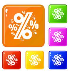 Percentage icons set color vector